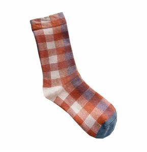 Personaized Stylish Contrast Color Pile Retro Plaid Ladies Socks