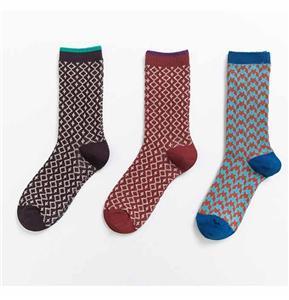 Колледж Стильный двойной стежок ретро Человек Геометрические носки