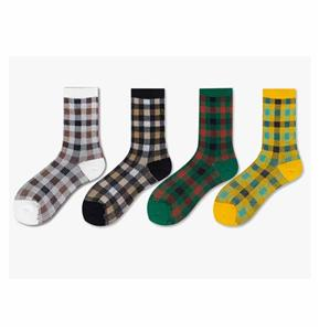 Retro Creative Trend Colored Ladie Square Plaid Socks