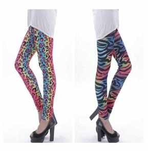 Monogrammed Fluorescence Gradient Rainbow Leopard Women Tights