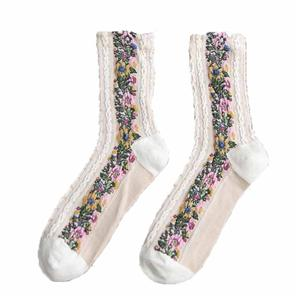 Wholesale personalized stylish retro floral print Harajuku sock