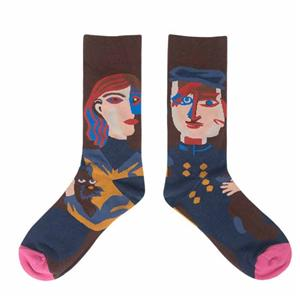 Wholesale Creativer Retro Literary Trend College Style Argyle Socks