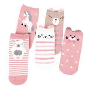 Personaalne Pink Cute Bear Triibuline kammitud puuvillast Sokid