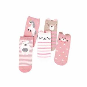 Personalized Pink Cute Bear Striped Combed Cotton Socks