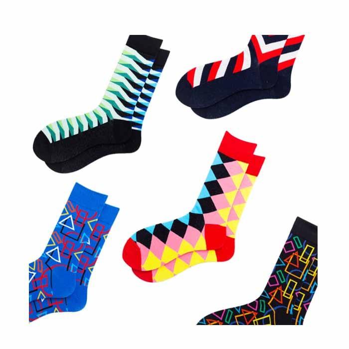 Colorful Rhombus Abstract Geometric Striped Plaid Socks