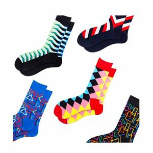 Colorful Rhombus Abstract Geometric Striped Plaid Socks