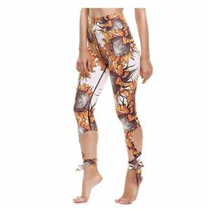 Running Print Multicolor Sports Ribbon Yoga Tights