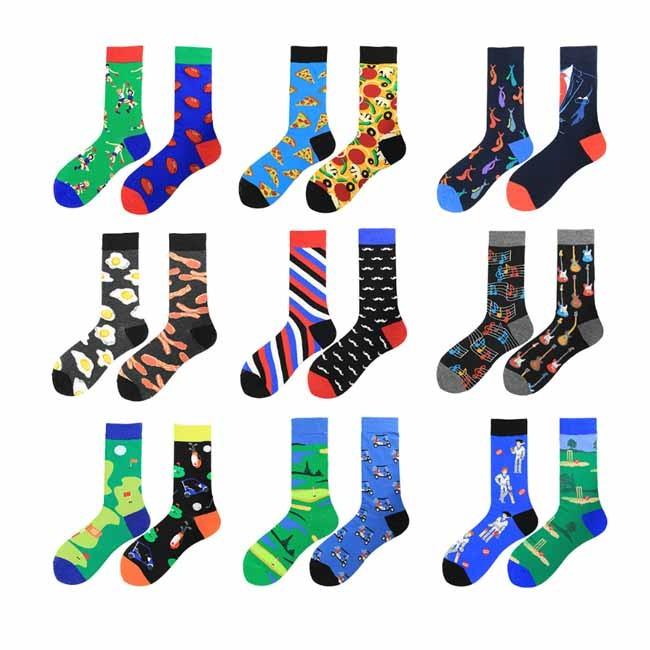 Creative Fashion Colorful AB Asymmetric Men Tide Socks