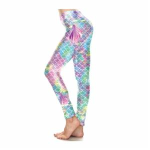 Personalized Funky Charm Shiny Scale Mermaid Print Leggings