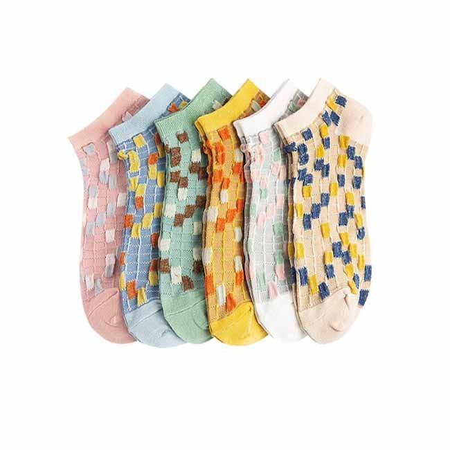 -creativa de color personalizado Argyle mujeres de la manera-barco calcetines