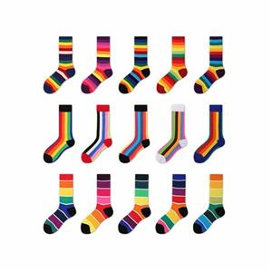 Creative Happy Cute Colorful Rinbow Striped Women Socks