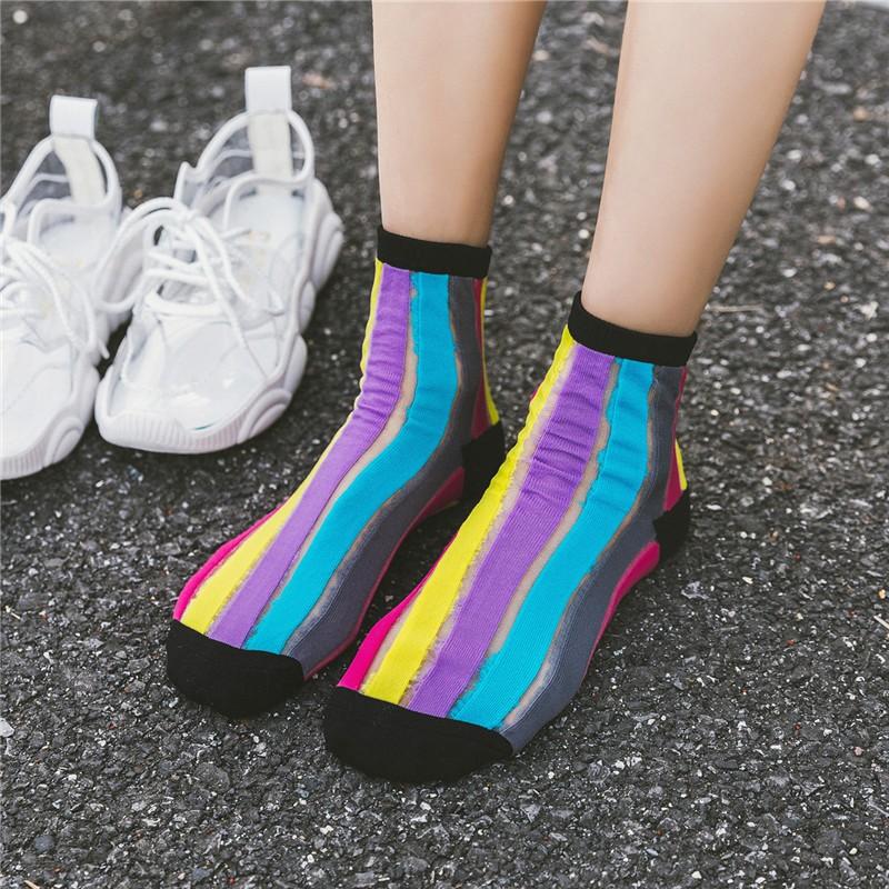 2020 Wholesale Stylish Custom Design Patchwork Rainbow Clear Lace Women Stockings