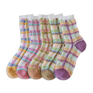 Yaz Moda Kız Özel Tasarım Kişiselleştirilmiş Çizgili Dikiş Kontrast Kadın Çorap