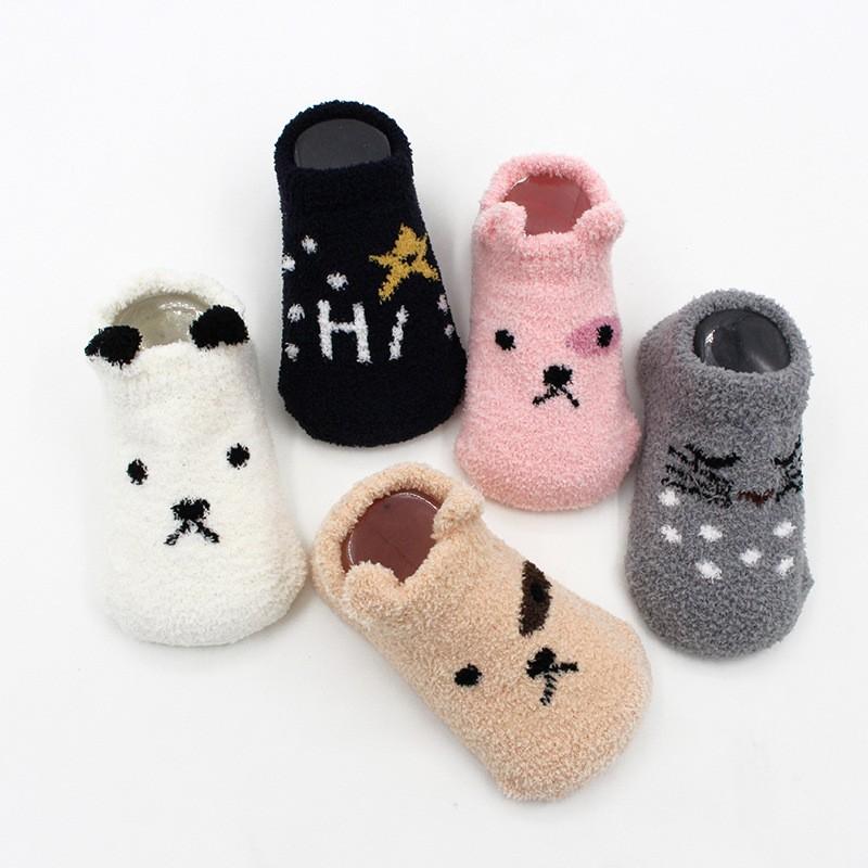 Personalidad Personalizada Animal de dibujos animados Piso de coral Estilo coreano Calcetines borrosos acogedores para bebés