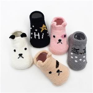 Personality Custom Cartoon Animal Coral floor Korean Style Baby Cozy Fuzzy Socks