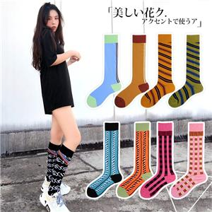 Wholesale OEM Custom Fancy Combed Cotton Japanese fashion striped ladies Happy stockings