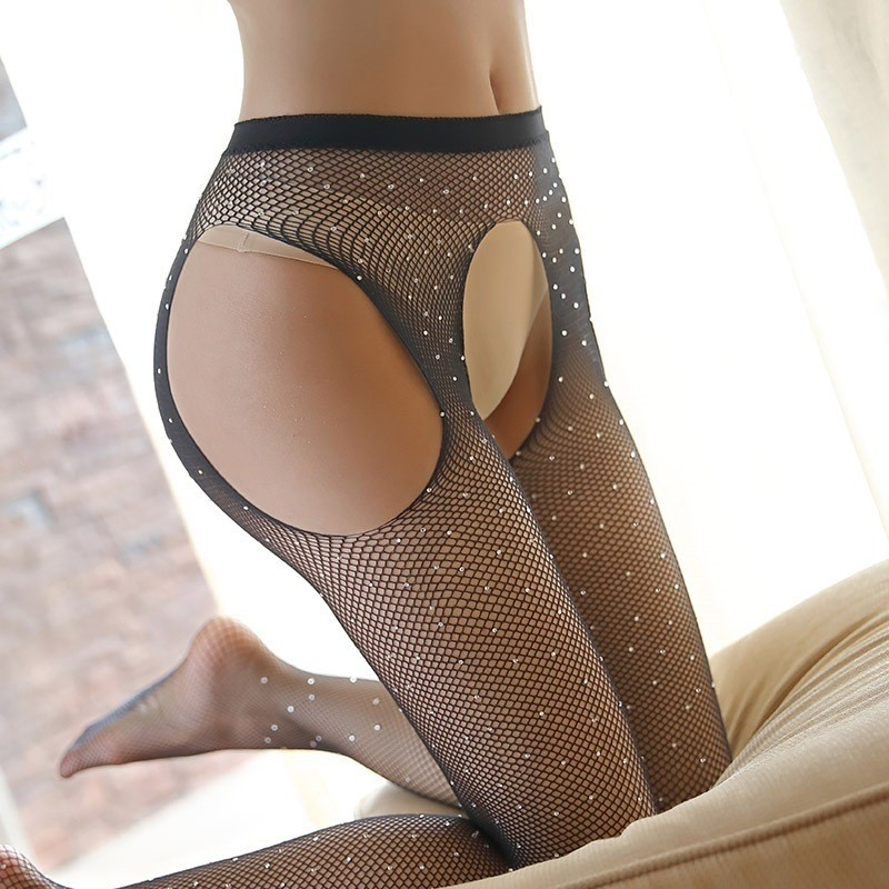 2020 Vente en gros Amazon sexy strass jacquard collants résille
