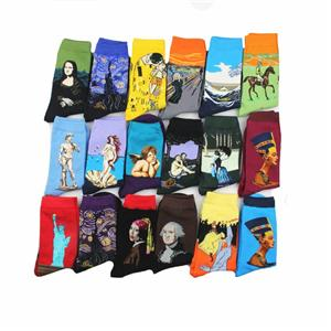 OEM Wholesale Trendy Art retro world famous painting series men oil painting socks