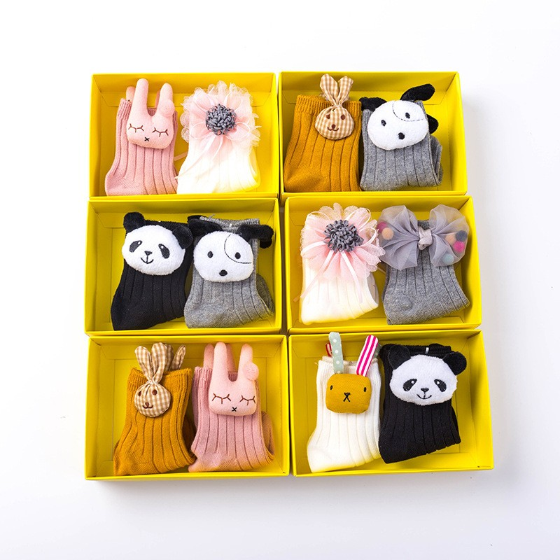 wholesale OEM Trendy Japanese Doll Animal 1-3-5 years old Baby Combed Cotton Socks