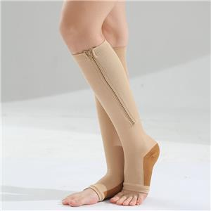 OEM Medical Barrel Zipper Elastic Sports Shaping Vein Compression Calf Stockings