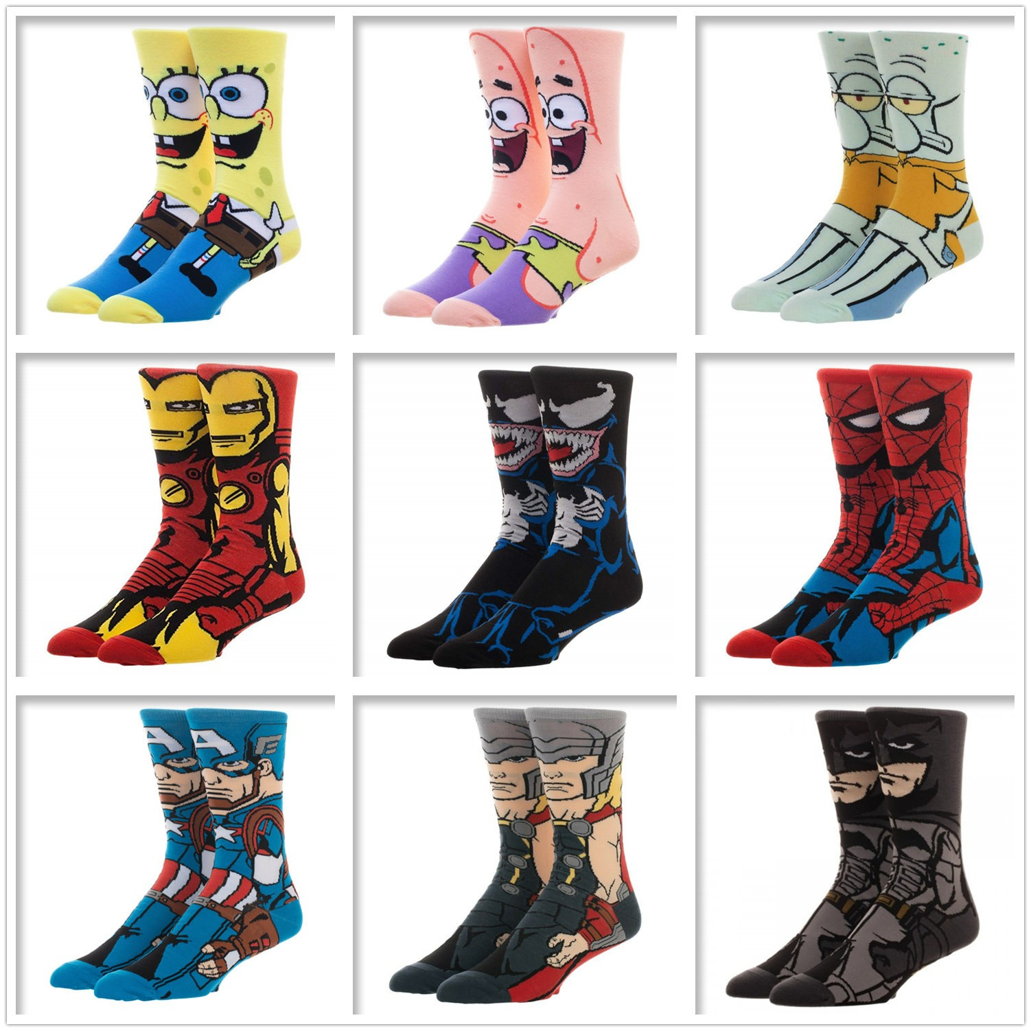 New Arrival Personality Stylish Sponge Marvel Supermen Teen Happy Animation Men Socks