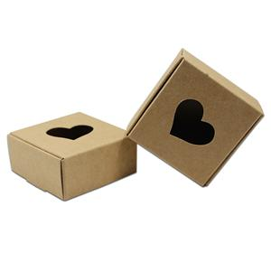 OEMへようこそアウト中空ボール紙カートンのためにウェディングパーティーのクッキーキャンディ包装工場ブラウンホワイトブラックスクエアクラフト紙ギフトボックスを