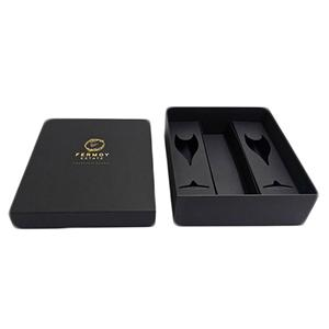 custom printing black folded texture gift boxes for wine glasses