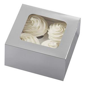 pequeño pastel de papel de embalaje cuadrados cupcake cajas con ventana