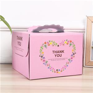 caja de pastel de embalaje rosa personalizada con asa
