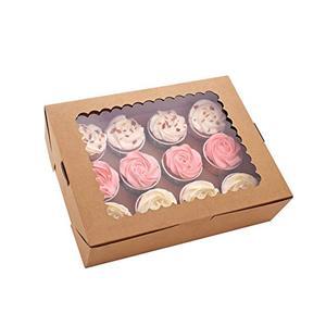 Caja de papel de embalaje Caja de magdalenas de papel Kraft con ventana transparente Caja de regalo de convite de fiesta
