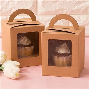 Caja de empaquetado al por mayor de las galletas de la panadería del marrón reciclado individual del postre con la manija