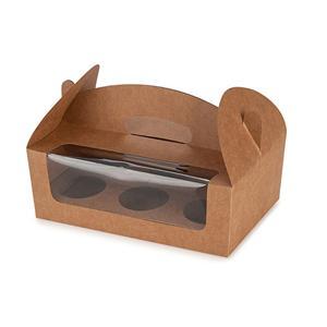 caja de panadería de la magdalena rosada Kraft reciclada marrón al por mayor del postre