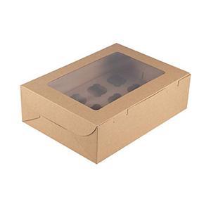Caja de ventana de empaquetado de kraft de cupcake de calidad alimentaria