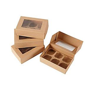 Caja de papel de embalaje personalizado Caja de pastel de papel Kraft con ventana transparente
