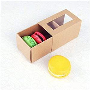 personalizado kraft Party macaron Embalaje Caja de regalo de papel con ventana