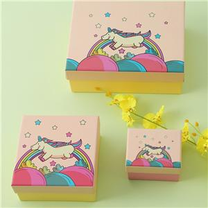 Factory Price Pink atrpaper jewelry packaging box customized earring necklace removeable lid gift box