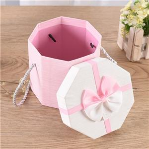 China Factory Hexagon box style gift packaging top opening gift paper box with ribbon to match