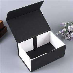 Caja de forma de libro de regalo plegable de cartón negro de lujo personalizado