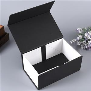 Custom luxury black cardboard foldable gift book shape box