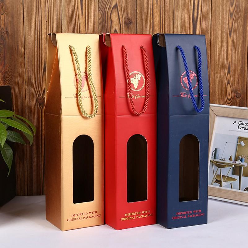 OEM Factory wine packaging handle cardboard box