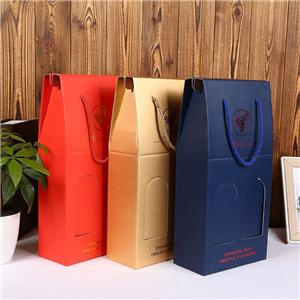 OEM Factory Two bottle cardboard wine box customized logo