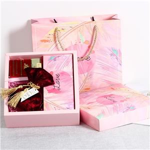 Factory Custom pink printed coated paper gift box