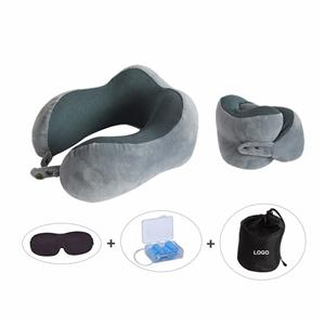 Foldable OEM Airplane Rest Adjustable Velvet Cover Memory Foam Travel Neck Pillow