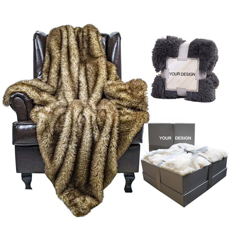 Luxury Reversible Super Soft Warm Large Wrinkle Resistant Washable Couch or Bed Faux Fur Throw Blanket