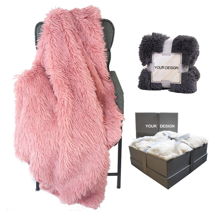 Amazon Hot Sale Cozy Elegant Fluffy Long Hair Faux Fur Throw Blankets for Bedding