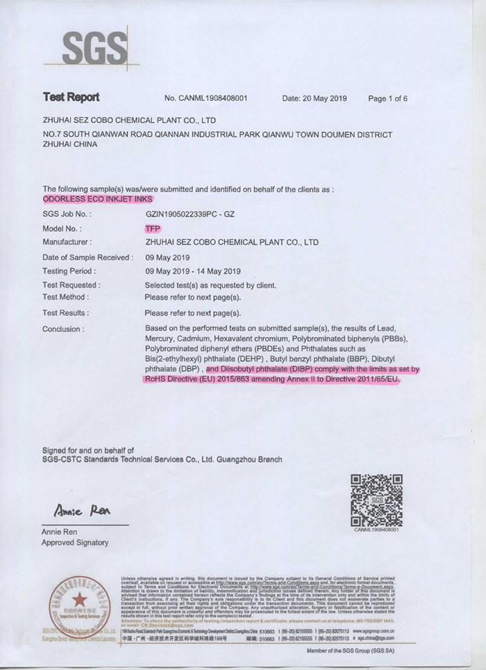 COBO SGS TEST REPORT-TFP