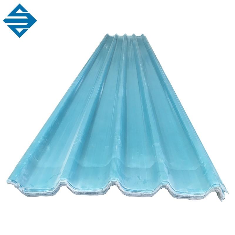 2.0mmのガラス繊維Frp Grpの透明で青い波形シート
