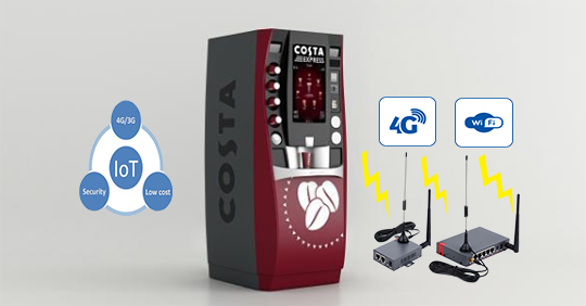 IoT coffee vending machines with Cellular wifi Router