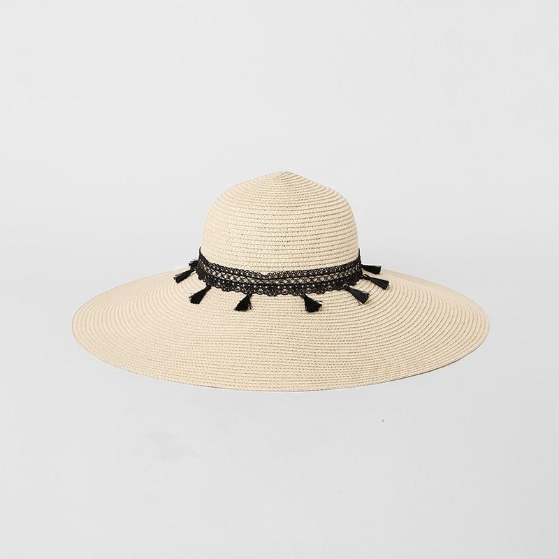 Geniş Brim Vintage Kadınlar Hasır Şapka