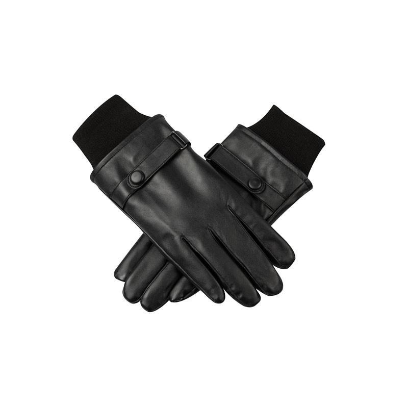 Black Belt Fasterned Mens Leather Gloves